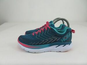 Hoka One One Clifton 4 Blue Coral/Ceramic Running Athletic Shoes Womens 7.5 M