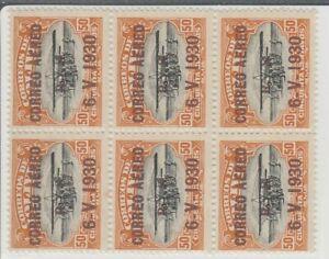 Bolivia Zeppelin Sc c16 50ct Overprint brown block of 6 MNH original gum Super R