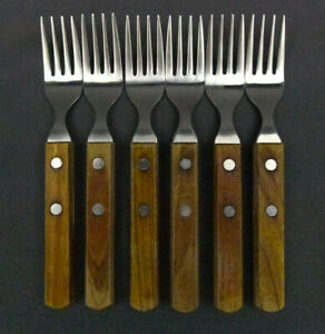 "6 x Towle Lauffer Wood Handle 18/8 Stainless Salad Fork 6 3/8"" Japan"
