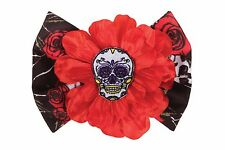 DAY OF THE DEAD HAIR CLIP SUGAR SKULL ROSES FLOWER PUNK ALTERNATIVE FANCY DRESS