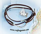 Nautical Rope bracelet - Fish Hook : brown suede leather - gifts for sailors ⛵️