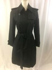 Norma Kamali M Black Trench Coat Double Breasted NEW