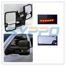 For 07-13 Silverado Sierra Towing BLACK Mirrors LED Turn Signal Backup Lamps