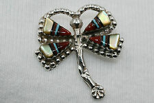 Signed Zuni Sterling Silver Multi Stone Inlay Dragonfly Pendant
