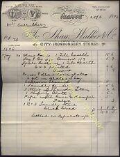 1896 GLASGOW Shaw Walker & Co, IRONMONGERY STORES 14, Union St, Billhead