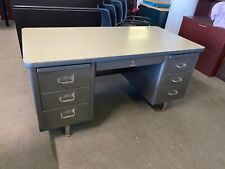 VINTAGE/OLD STYLE TANK DESK by STEELCASE OFFICE FURNITURE w/ BEIGE LAMIN TOP