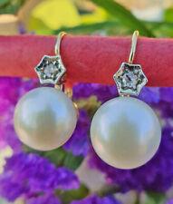 Flawless 14ct Yellow Gold Rose Cut Diamond & Freshwater Pearl Earrings