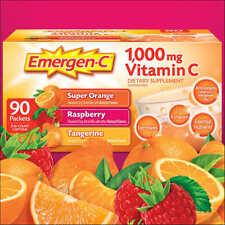 EMERGEN C Tangerine Orange Raspberry vitamin 90 DRINK MIX Immune Energy cold flu