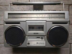 Vintage HITACHI STEREO BOOMBOX TRK-7600W, Radio Works, Non-Working Cassette