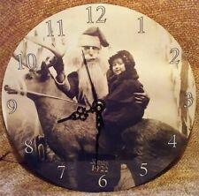 Custom Metal Clock from the Original 1922 Christmas Photo Santa Clause & Child