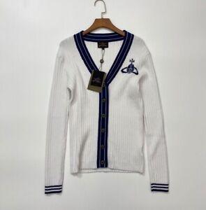 VIVIENNE WESTWOOD White Navy style V-neck Knitting Cardigan Size38(M)10% Wool