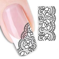 Nail Art Stickers Water Decals Transfers Lace Tip (XF1342)