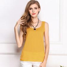 Womens Summer Casual Chiffon Vest Tops Tank Sleeveless Shirt Blouse Fashion -3