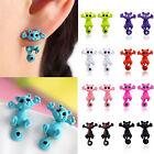 Cute 3D Animal Kitten Multiple Color Ear Jewelry Cat Stud Earrings Women Fashion
