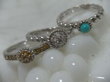 Judith Ripka Sterling Silver Turquoise Citrine Stack Rings Sz 6-  Set of Three