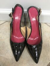 "Kate spade patent leather grey croc sling backs-4 1/2"" heel, size 9 1/2"