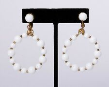 """Vintage Signed Miriam Haskell Gold & White Beaded Hoop Earrings Clip-on 1.5"""""""