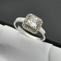 925 Sterling Silver Square White Stone Set Solitaire Ring with Accents ~ Size P