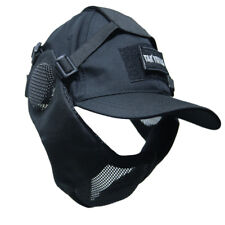 Tactical Foldable Mesh Mask With Airsoft Paintball Baseball Cap Black
