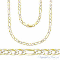 Italy .925 Sterling Silver 14k Yellow Gold 2.8mm Figaro Link Chain Pave Necklace