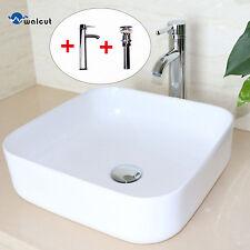 White Bathroom Square Ceramic Vessel Sink Chrome Faucet &Drain Combo Set NEW
