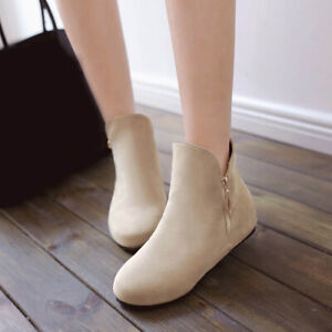 Womens Wedge Hidden Heel Zipper Ankle Boots Shoes Faux Suede Booties Size 34-52