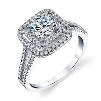 925 Sterling Silver Square Designed Cubic Zirconia Engagement Wedding Ring
