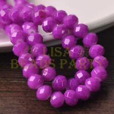 New 20pcs 10mm Glass With Color Coated Rondelle Faceted Loose Beads Fuchsia
