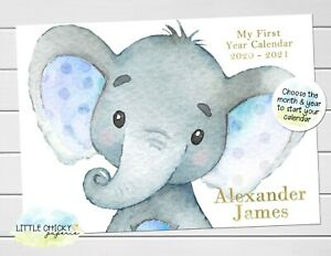 Blue Elephant Baby's First Year Calendar, Personalized Calendar for new baby