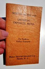 1936 WESTON ELECTRICAL INSTRUMENT CO. UNIVERSAL EXPOSURE METER Model 360 Guide