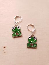 Emaillierte Frosch Ohrringe 🐸 Handgefertigter Schmuck mit Brisuren