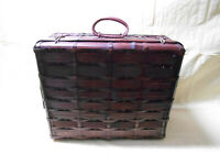 """Vintage Wicker Suitcase Picnic Basket with Handles 18.5"""" x 15.5"""" x 8.5"""""""