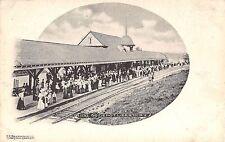 c1905 Passenger awaiting Train O&W RR Depot Liberty NY postcard Sullivan county