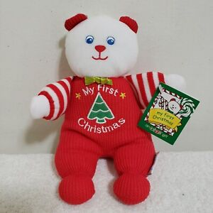 "EDEN 10""  LOVEY PLUSH rattle bear waffle red my first christmas doll thermal"