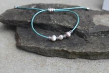 Fresh Water Pearl Turquoise Leather Adjustable  Bracelets or Anklet