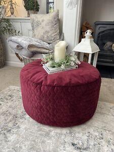 NEXT Deep Red Burgundy Velvet Round Beanbag Pouffe Footstool