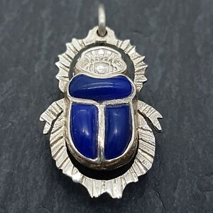 Sterling Silver Double Sided Scarab Beetle Pendant - Egyptian Revival - 27mm -