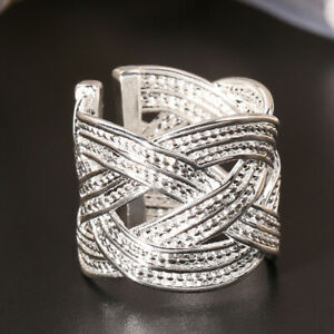 Frauen 925 sterling silber klaue ring gewebt mesh stil schmuck geschenk uns 8