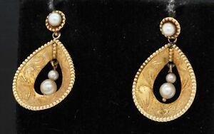 Antique 14K gold elegant 2.9 to 4.5mm pearl drop dangle earrings