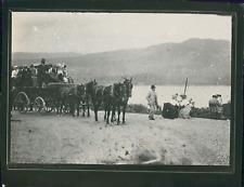 Écosse, Omnibus près d'un lac, ca.1900, Vintage silver print Vintage silver