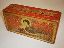 19c ANTIQUE GILD UNIQUE JAPANESE/CHINESE WOODEN BOX CASE PAINTED DRAGON & GEISHA
