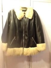 Liza B. Paris Black Faux Leather And Faux Fur Bomber Jacket In Size 2X