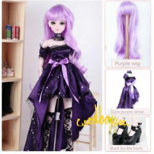 1/3 SD BJD Wig&Clothes&Shoes Suit PurpleWig&Dress&HighHeels AS AOD DF Startalk