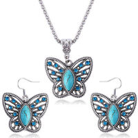 Fashion Turquoise Drop Earrings Crystal Buttefly Pendant Neckla Set for Wome MW