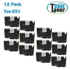 12PK for Brother PT TZe Tape Tze231 Tz 12mm 0.47 Inch Laminated Black on White