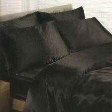 satin noir housse couette simple, Drap housse, 2 x Taie d'oreiller Set NEUF