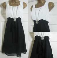 NEW EX YESSICA VINTAGE STYLE SUMMER TEA PARTY DRESS BLACK WHITE CHIFFON SZ 6-20