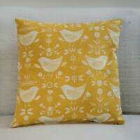 Scandi Style Birds Cushion. Double Sided. Ochre Mustard Yellow. Geometric Floral