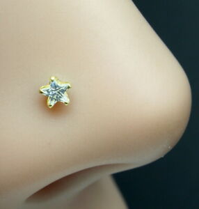 Real Gold White Star CZ Piercing Nose Stud Nose Pin Solid 14k Yellow Gold