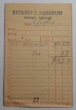 1970 BILLHEAD RECEIPT FROM STEWARTS AQUARIUM WARREN INDIANA